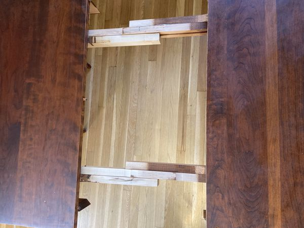 Solid Cherry Dining Table, Extending, Seats 6-8 easily, plus bench and 4 pottery barn chairs