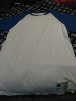 Size Large champs blue and white baseball shirt brand new for Sale in Cicero, IL