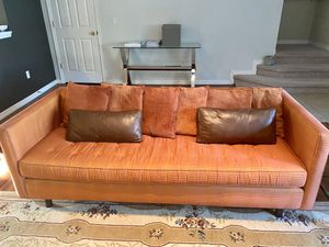 Orange Couch and Accent Chair with Pillows for Sale in Windermere, FL