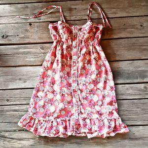 Roper Spaghetti Strap Sun Dress Small Cotton Pink Coral White for Sale in Thornton, CO