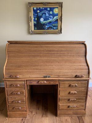 Solid Oak roll top office desk for Sale in North Tonawanda, NY