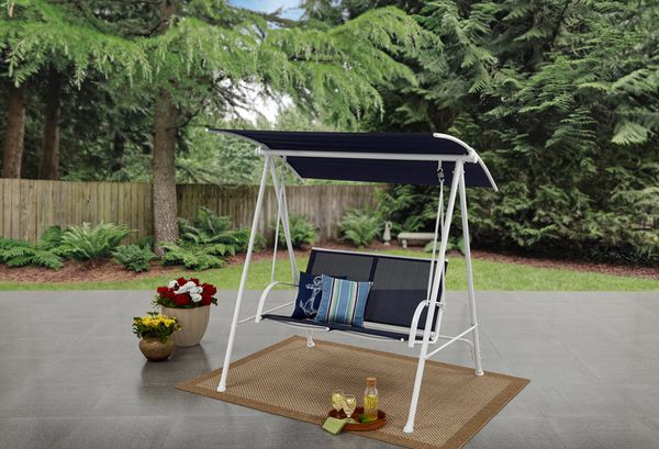 2 Person Canopy Patio Garden Yard Porch Swing Outdoor Furniture Sling Seats In Blue