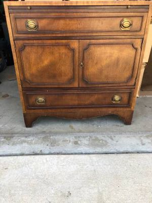 Antique chest solid wood with custom glass top for Sale in Agoura Hills, CA