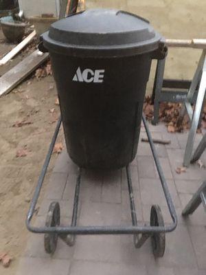Ace Trash Can Cart & Black Trash Can for Sale in Audubon, NJ