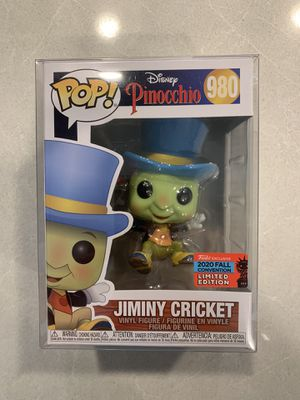 Jiminy Cricket Funko Pop **MINT IN HAND** 2020 NYCC Exclusive Pinocchio Disney 980 with protector for Sale in Highland Village, TX