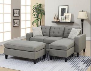 Brand New Light Grey Linen Sectional Sofa Couch + Ottoman for Sale in Fairfax, VA