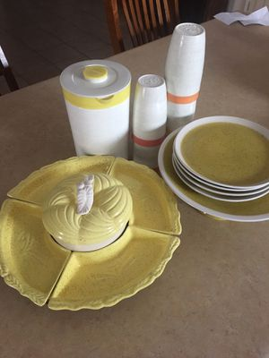 Lunar Toscany stoneware Yellow cake Stand plates lazy Susan with trays serving trays for Sale in Avondale, AZ