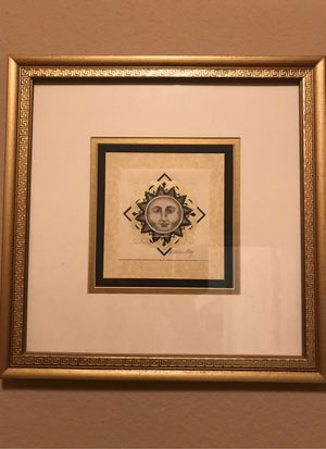 Sun embossed picture in gold picture frame for Sale in Turlock, CA