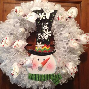 My first Christmas Snowman of the season. It is a huge 21 in embellished with snowballs, ribbon and white deco mesh. PU in Simpsonville. for Sale in Simpsonville, SC