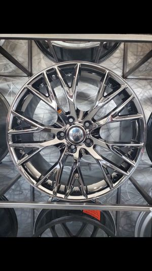 Dark chrome Corvette z06 style wheels for base model stingray and z51 19x8.5 and 20x10 rims wells and tires for Sale in Tempe, AZ