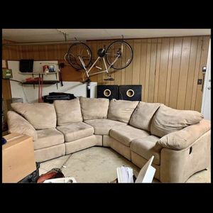 Beautiful Tan 2 Piece Sectional Couch - Both Sides Recline- SUEDE- Great Condition for Sale in Roseville, MI