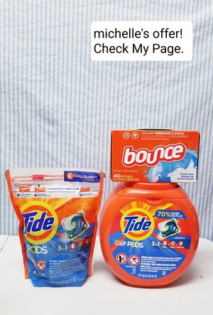 Tide pods 3in1 Original 31-72ct/ Bounce set for Sale in Temple Hills, MD