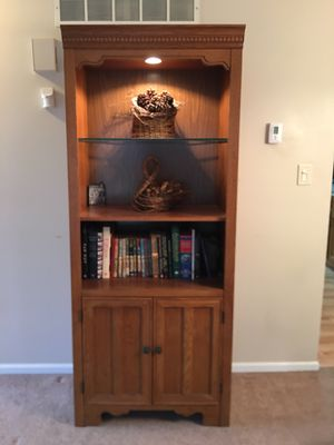 Solid Oak Hutch with Light Display for Sale in Trappe, PA
