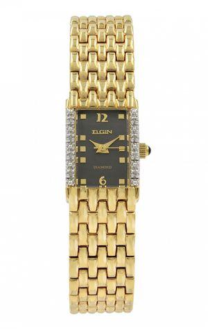 ELGIN DIAMOND BLACK DIAL YELLOW GOLD PLATED STEEL QUARTZ LADIES WATCH EG059 for Sale in Miami, FL