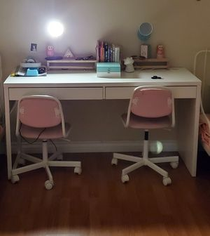 "Desk, white, 55 7/8x19 5/8 "" , with 2 chairs for Sale in Bonita, CA"