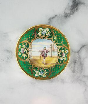 Rare Venezia Murano Green Italian Glass Bowl Gilded 24k Gold Hand Painted for Sale in Plymouth, MI