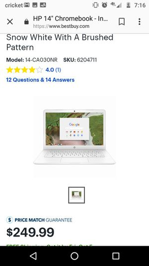 HP 14' Chromebook laptop and charger for Sale in Springfield, OR