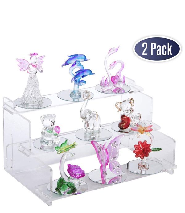 """Acrylic Display Riser Step Stand - 9"""" x 6"""" - 2 Pack, Nail Polish Organizer, Tiered Spice Rack, Display Shelves for Collectibles, Toys, Action Figures"""