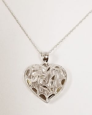 10k White Gold Fine Loose Rope Chain w/ Diamond Cut Heart Pendant for Sale in Hemet, CA