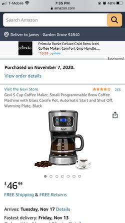 Brand new Gevi 5 Cup Coffee Maker, Small Programmable Brew Coffee Machine with Glass Carafe Pot, Automatic Start and Shut Off, Warming Plate, Black for Sale in Garden Grove,  CA