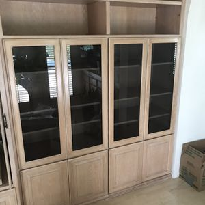 Wall Unit With Glass Doors And Shelves for Sale in Huntington Beach, CA