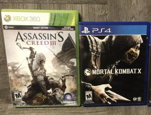 GAMES PS4 XBOX 360 PlayStation 4 Mortal combat call of duty black ops Assassins Creed 3 for Sale in Madera, CA