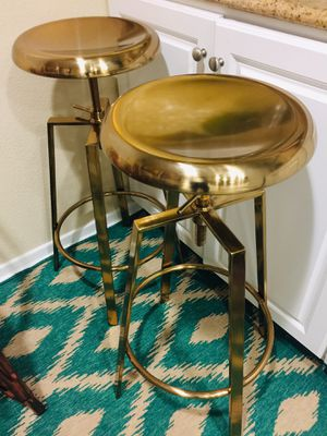Set of 2 polished Gold bar stools adjustable heights! for Sale in San Diego, CA
