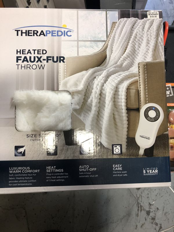 Therapedic® Faux Fur Electric Throw Blanket in White