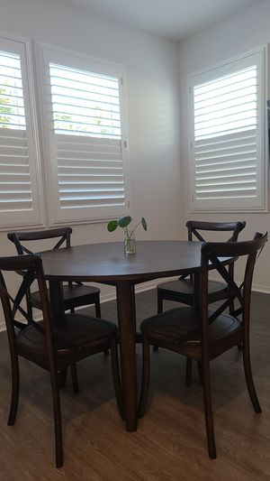 Farm or Industrial Style Wooden Kitchen Table and 4 Chair Set for Sale in Chino, CA