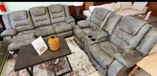 Mccade Cobblestone Reclining Living Room Set| Sofa and Loveseat| by Ashley| Brand New for Sale in Houston,  TX