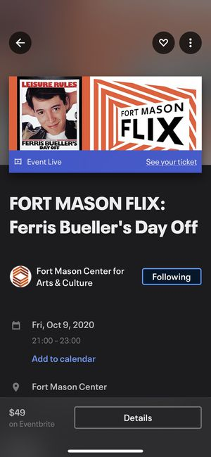 Fort Mason Flix drive in movie ticket for Sale in San Francisco, CA