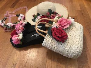 Beach set ( hat, sandal, bag, beach wreath) for Sale in McLean, VA