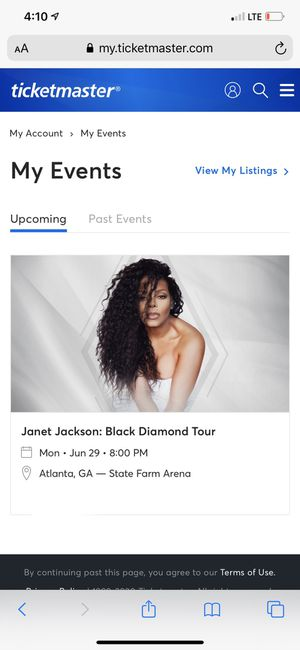 Janet Jackson: Black Diamond Tour Gold VIP Lounge ticket x2 for Sale in Snellville, GA