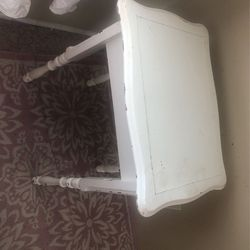 Shabby Chic Vintage Side Table Distressed White. Very well built for Sale in Lynnwood,  WA