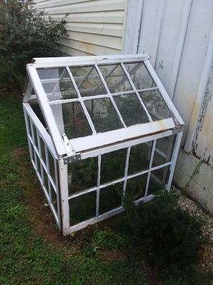 Homemade miniature greenhouse from 6 panel windows for Sale in Kingsport, TN