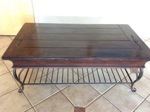 Wood and wrought iron coffee table for Sale in West Palm Beach, FL