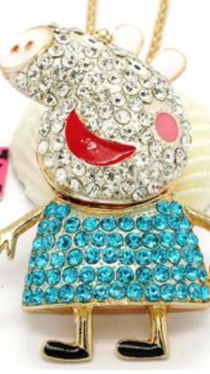 """Bestsey Johnson adirBle 3 d cartoon character Peppa Pig"""" pretty rhinestone necklace 3 """" high on a gold chain for Sale in Northfield, OH"""
