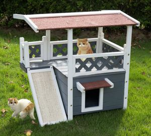 Kinbor Wooden Pet house Cat Shelter Small Animal Hutch w/ Roof Stair Escape Door for Sale in Chino, CA