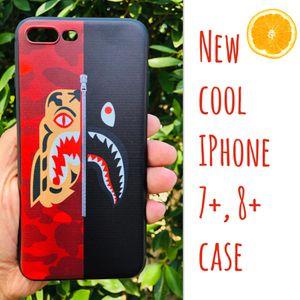 New cool iphone 7+ or iphone 8+ PLUS case rubber bape aape shark hypebeast hype swag wgm hypebeast hype swag men's women's for Sale in San Bernardino, CA