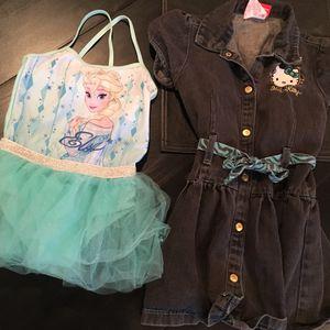 Girl's size 6 Hello Kitty Denim Dress and Disney Frozen Leotard Frozen for Sale in Las Vegas, NV