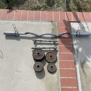 Great shape starter - Olympic Curl Bar with 8 York Cast Iron Weights and 2 Adjustable Dumbbells for Sale in Whittier, CA