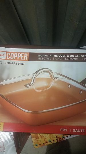 5 in 1 copper cooking square pan for Sale in Fontana, CA