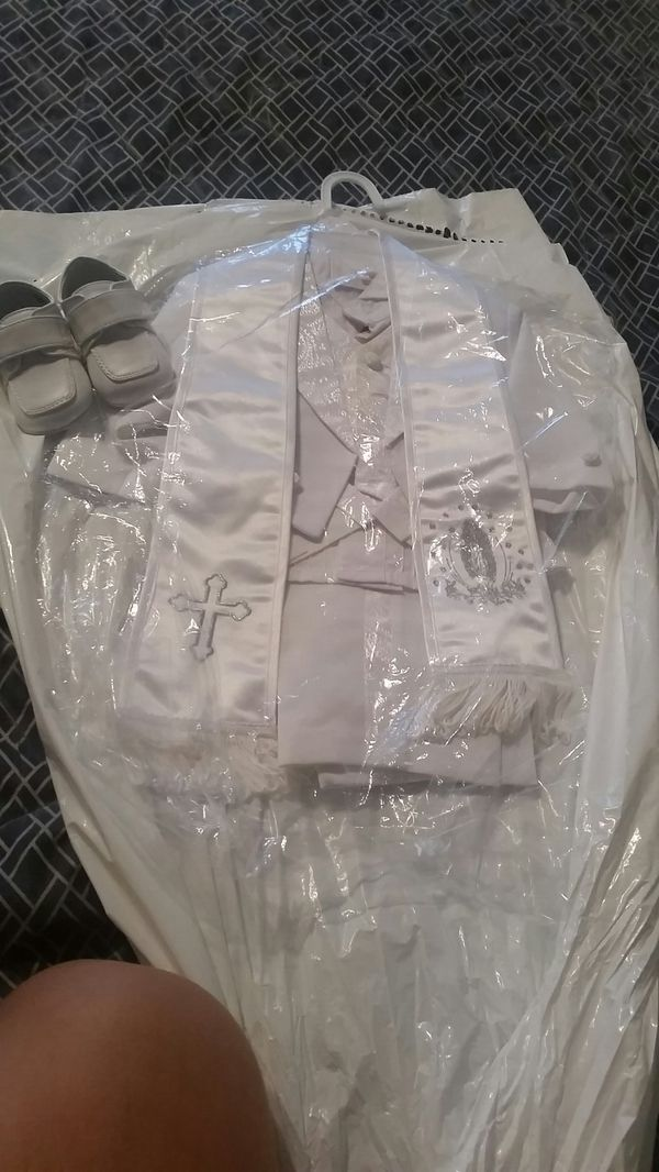 Batism outfit size small shoes size 1 like new