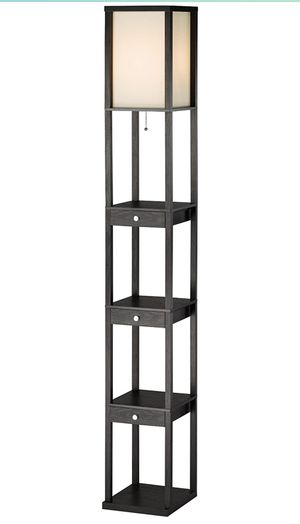 """3450-01 Murray 72"""" Tall Floor Lamp with Storage Shelves, Drawers. Durable MDF Lighting Equipment with Wood Veneer Finishing. Home Decor Access for Sale in Covina, CA"""