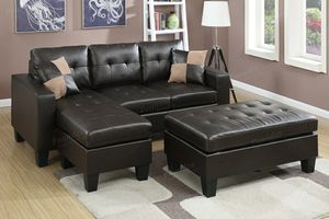 Espresso bonded leather sofa sectional couch for Sale in Downey, CA