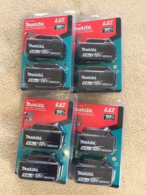 Eight Makita 5.0 batteries for Sale in Hayward, CA