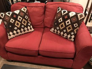 Small red couch and pillows for Sale in Herndon, VA