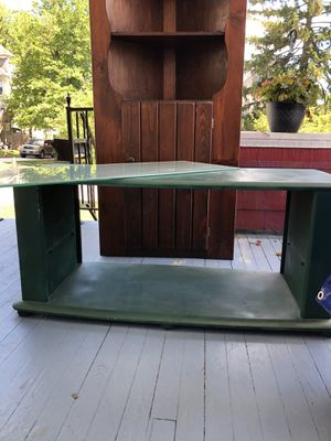 Hunter green TV stand/coffee table with glass shelves for Sale in Nottingham, MD