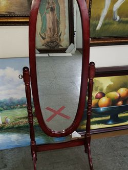 16 X 46 Oval Mirror With Cherry Frame for Sale in Bloomington,  CA