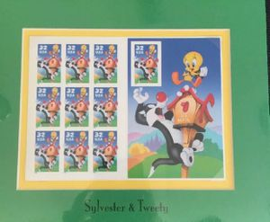 Collectors Sylvester Tweety Bird US Stamps 10 Sheet Matted Sealed New for Sale in Alhambra, CA